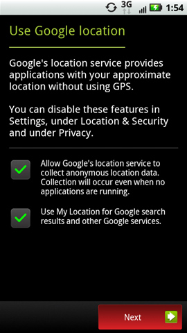 Use Google location screen with Next