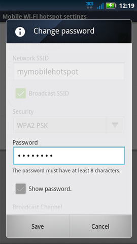 Settings with Password field