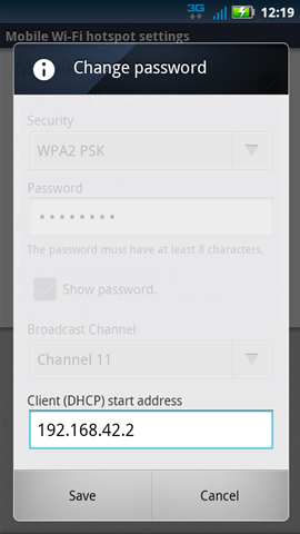 Settings with Client (DHCP) start address