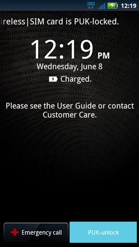 Home screen with PUK-unlock