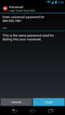 Visual Voice Mail Login screen