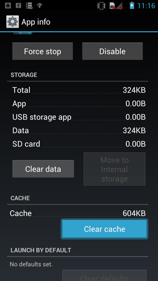 Apps info screen, Clear cache