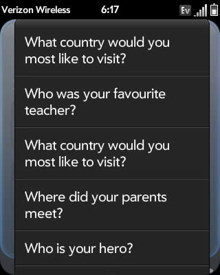 Select a security question