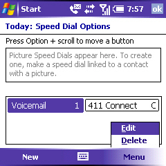 Image of Speed Dial Options screen Menu
