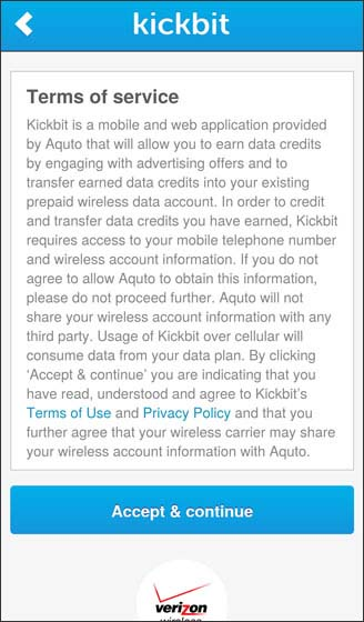 Supported data plan Terms of Service