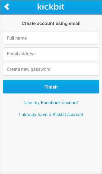 Create account using email address by entering full name, email, and kickbit password