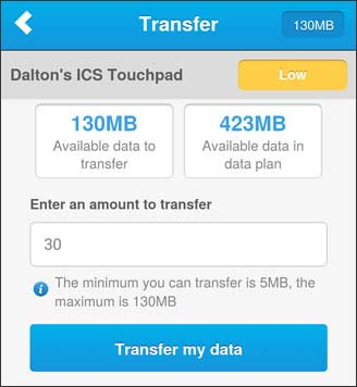 Data transfer screen with amount of data entered