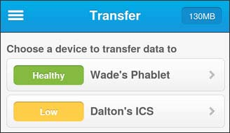Transfer data with two devices listed
