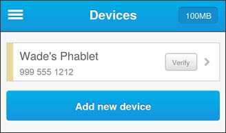 Manage Devices, device not verified. Select verify button