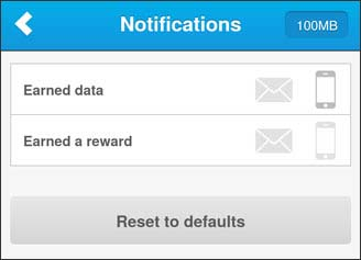 Notifications Screen with Earned data on device hilighted