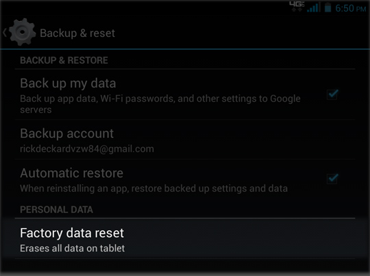 Backup & reset select Factory Data Reset