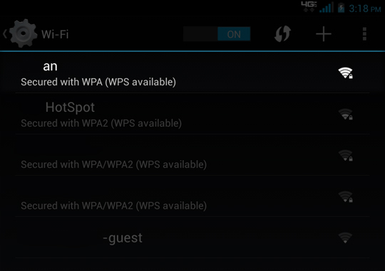 Wi-Fi select a Wi-Fi network from the list