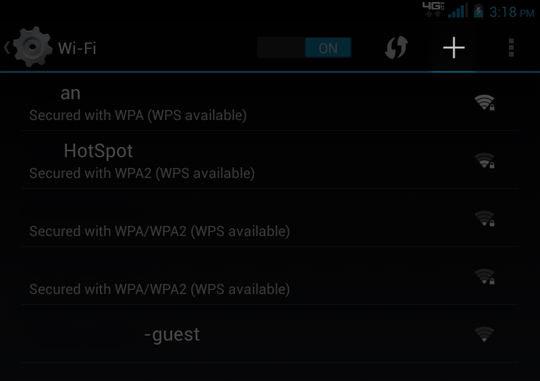 Wi-Fi select plus sign to add Wi-fi network