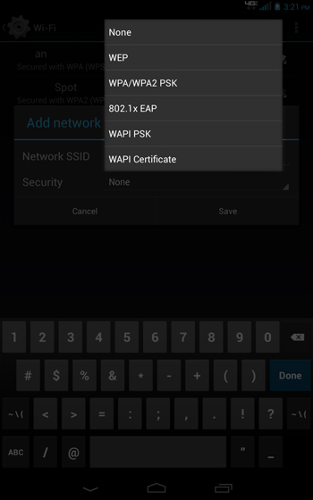 Wi-Fi Add A New Network select a Security option from the menu