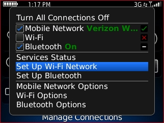 Manage Connections screen with Set up Wi-Fi Network highlighted