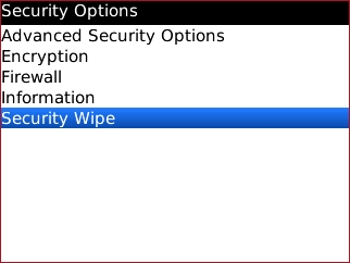 Security options screen with Security Wipe
