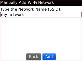 Manually Add Wi-Fi Network screen with Network Name SSID