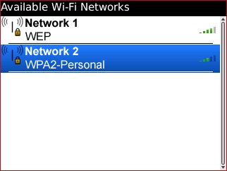Available Wi-Fi Networks screen