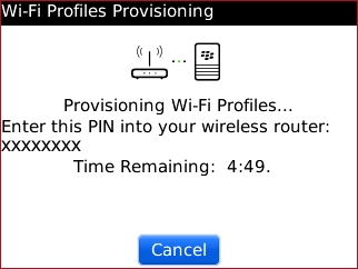 Wi-Fi Profile Provisioning screen with generated PIN
