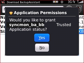 Application Permissions prompt with Yes