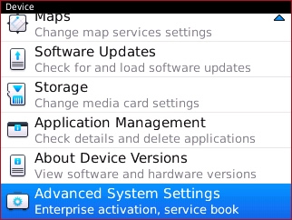 Device with Advanced System Settings
