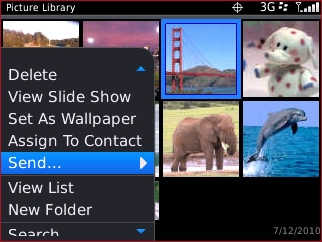 Pictures menu with Send