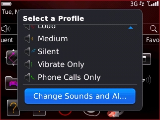 Select a Profile with Change Sounds and Alerts