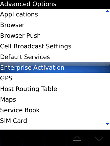 blackberry advanced options with enterprise activation