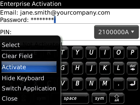 blackberry enterprise activation