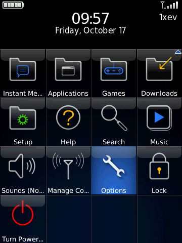 blackberry main screen with options selected=
