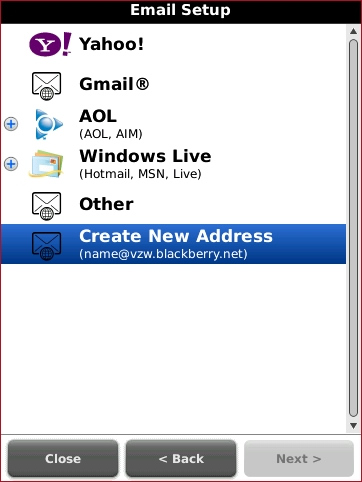 Email Setup screen with Create New Address highligted