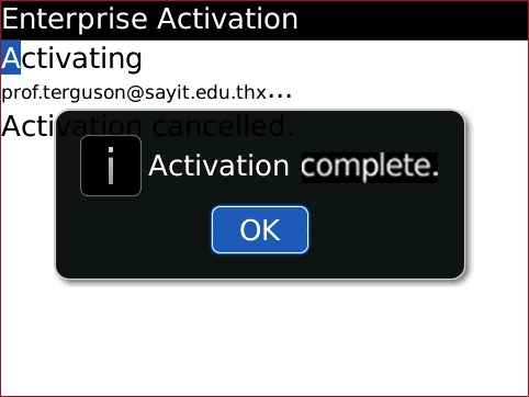 Enterprise Activation screen with OK highlighted