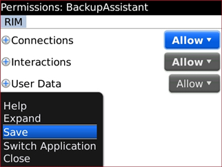 Permissions screen menu with Save