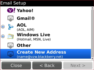Email Setup screen with Create New Address