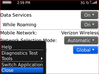 Mobile Network Options screen with Save