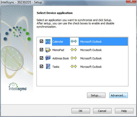 Select Device application screen with Advanced