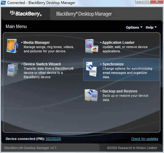 BlackBerry Desktop Manager main screen with Synchronize