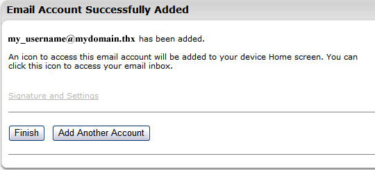 Email Account Successfully Added screen with Finish and Add Another Account