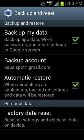 Back up and reset with Backup and restore settings