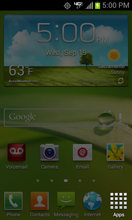 Home screen with Apps