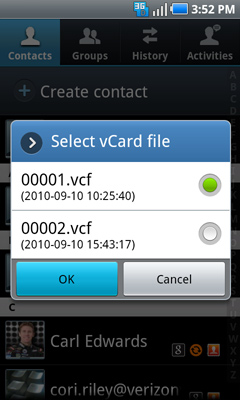 Select vCard file options
