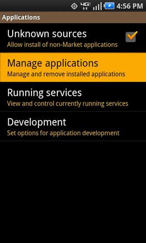 Applications with Manage applications