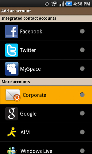 Add an account with Corporate