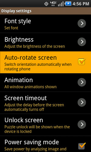 Display settings with Auto-rotate screen
