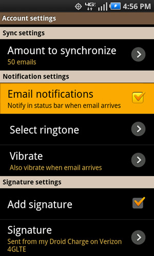 Notification settings with Email notifications