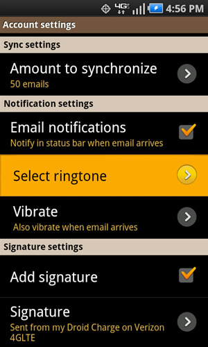 Notification settings with Select ringtone