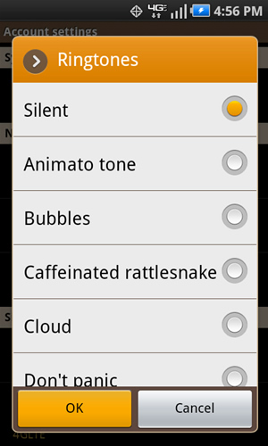 Ringtones with available settings