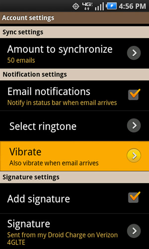 Notification settings with Vibrate