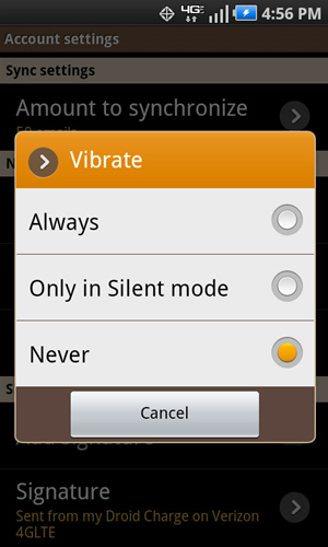 Vibrate with available settings
