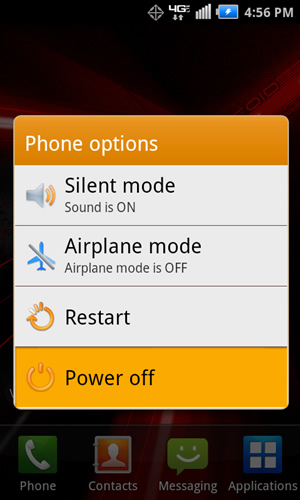 Phone Options with Power off